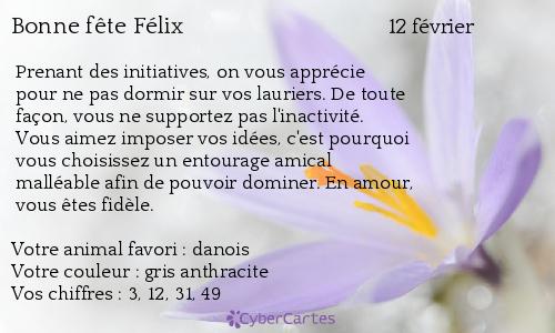 Carte Bonne Fete Felix.Carte Bonne Fete Felix 12 Fevrier