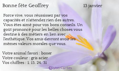 Carte bonne f te geoffrey 13 janvier - Geoffrey prenom ...