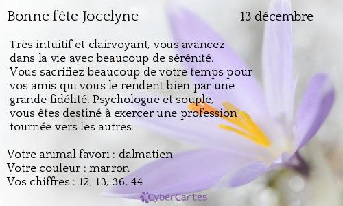 Carte Bonne Fete Jocelyne.Carte Bonne Fete Jocelyne 13 Decembre