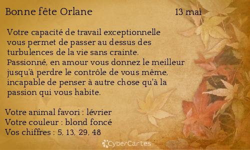 Carte Bonne Fête Orlane 13 Mai