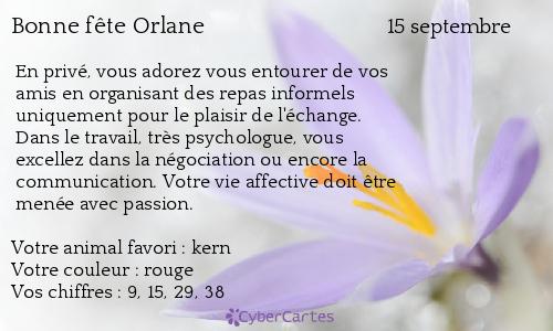 Carte bonne f te orlane 15 septembre - Prenom orlane ...
