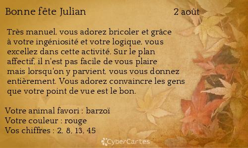 Carte Bonne Fete Julien.Carte Bonne Fete Julian 2 Aout