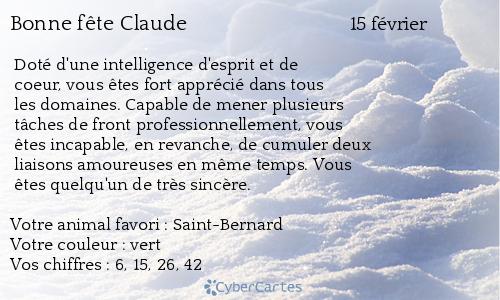 Carte bonne fête Claude