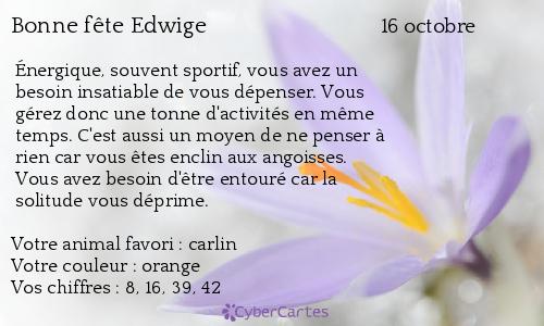 Carte bonne f te edwige 16 octobre - Edwige prenom ...