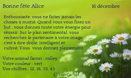 Carte bonne fête Alice