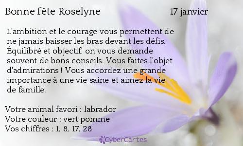 Carte Bonne Fete Roselyne.Carte Bonne Fete Roselyne 17 Janvier
