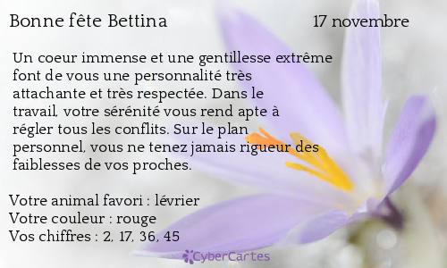 Carte bonne fête Bettina