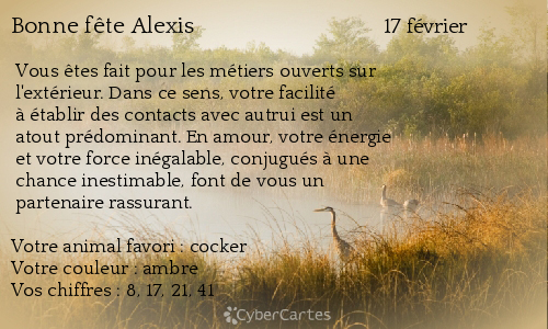 Carte bonne fête Alexis