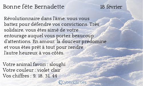 Carte bonne fête Bernadette