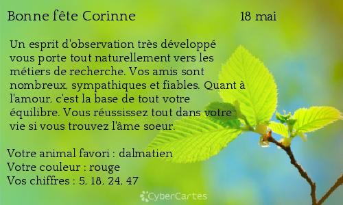 Carte bonne fête Corinne