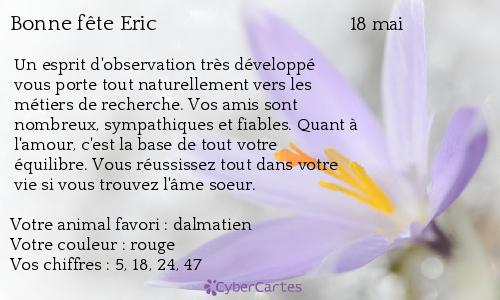 Carte Anniversaire Eric.Carte Bonne Fete Eric 18 Mai
