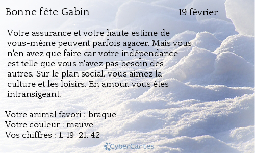Carte bonne fête Gabin