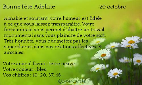 Carte bonne fête Adeline