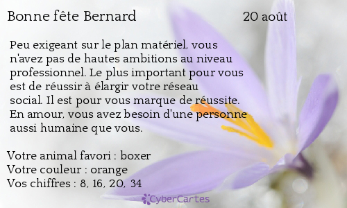 aujourd'hui , c' est la saint .................. - Page 4 Bernard