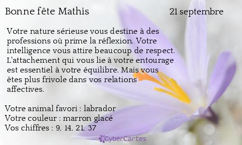 Carte Bonne F 234 Te Mathis 21 Septembre