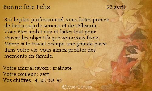 Carte Bonne Fete Felix.Carte Bonne Fete Felix 23 Avril