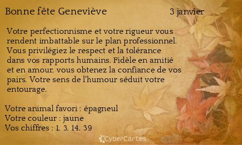 Carte bonne fête Geneviève