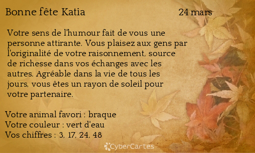 Carte Bonne Fete Katia.Carte Bonne Fete Katia 24 Mars