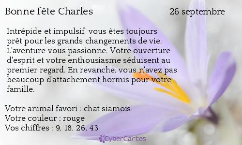 Carte Bonne Fete Charles.Carte Bonne Fete Charles 26 Septembre