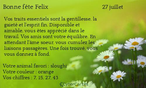 Carte Bonne Fete Felix.Carte Bonne Fete Felix 27 Juillet