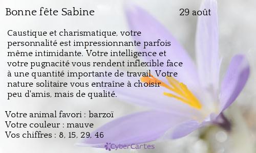 aujourd'hui , c' est la saint .................. - Page 4 Sabine