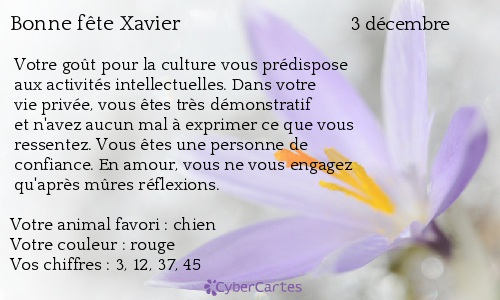Carte Bonne Fete Xavier 3 Decembre