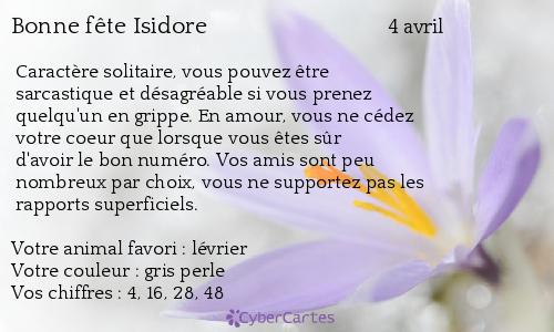 Carte bonne f te isidore 4 avril - Prenom isidore ...