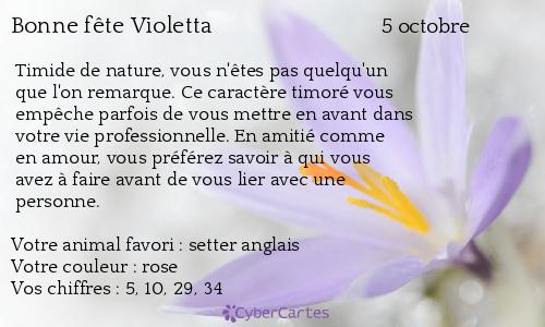 Carte bonne fête Violetta