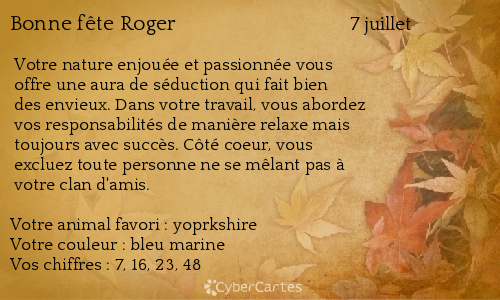 Carte Bonne Fete Roger.Carte Bonne Fete Roger 7 Juillet