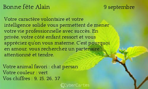 Carte bonne fête Alain